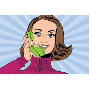 Pop-art retro frau im comic-stil am telefon zu sprechen