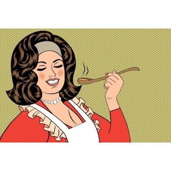 Pop-art retro frau mit schürze ihr essen vektor-illustration verkostung