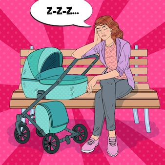 Pop art schlaflose junge mutter sitzt auf der parkbank mit kinderwagen. mutterschaftskonzept. erschöpfte frau mit neugeborenem kind.