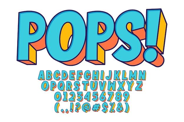 Pop-art-schriftart und -nummer extrudieren