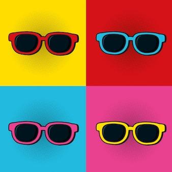 Pop-art-sonnenbrille bunte rahmen