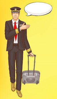 Pop-art-steward, flugbegleiter, stewardess mann