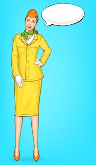 Pop-art-stewardess, flugbegleiterin, stewardess