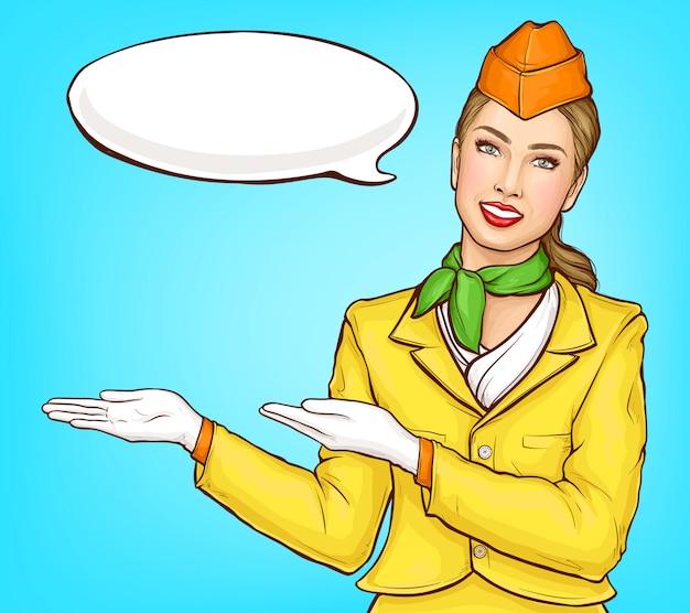 Pop-art-stewardess, flugbegleiterin, stewardess Kostenlosen Vektoren
