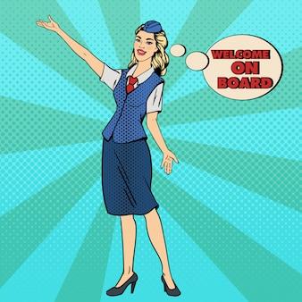 Pop art stewardess. flugzeug tourismus