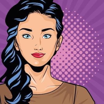Pop-art-stil des charakters der jungen frau im vektorillustrationsdesign des lila hintergrunds