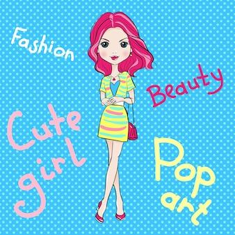 Pop art süßes modemädchen