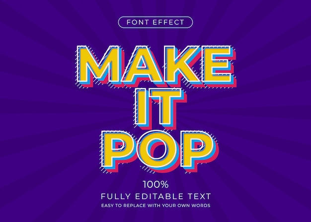 Pop-art-texteffekt. schriftstil