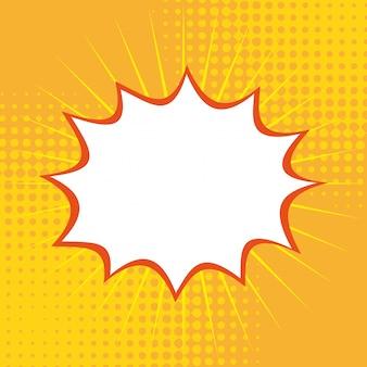 Pop-art über gelber hintergrundvektorillustration