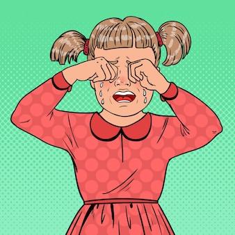 Pop art unglückliches kleines mädchen, das mit tränen weint