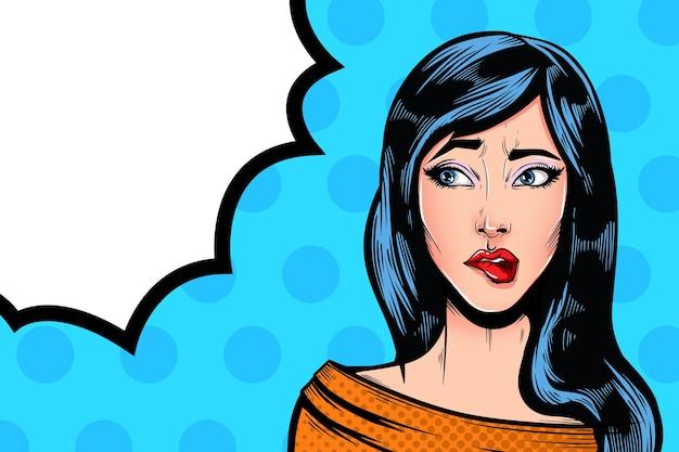 Pop art vintage comic-mädchen mit sprechblase. verwirrt denkendes hübsches mädchen