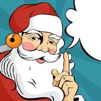 Pop-art-weihnachtsmann in der roten kleidung, die unter verwendung der sprechblase spricht. glücklicher vintage retro charakter. illustration