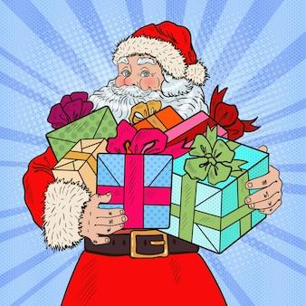 Pop art weihnachtsmann mit weihnachtsgeschenken. illustration