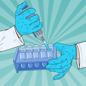 Pop-art-wissenschaftler, der mit medizinischen geräten arbeitet. chemische analyse. laborreagenzglas. wissenschaftliches forschungskonzept.