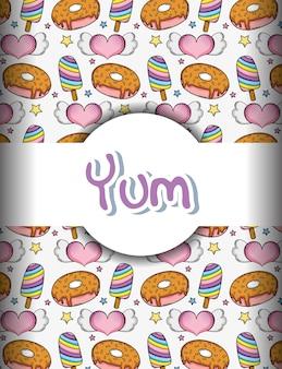 Pop-art-yum hintergrund mit eis am stiel-donuts und herzen