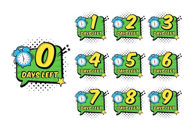 Pop-art-zahl tage übrig countdown-timer