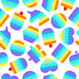 Pop es nahtloses muster. antistress-pop it silikonblasen spielzeug textur, sensorische regenbogen-vektor-hintergrund-illustration. silikon-anti-stress-spielzeug-hintergrund