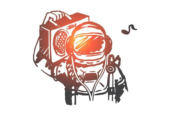Pop, kunst, retro, vintage, astronautenkonzept. hand gezeichneter kosmonaut mit retro-art-plattenspieler-konzept-skizze.