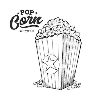 Pop-mais-retro-emblem. logo-vorlage mit schwarzen und weißen buchstaben und popcorn-skizze. eps10-vektor-illustration.