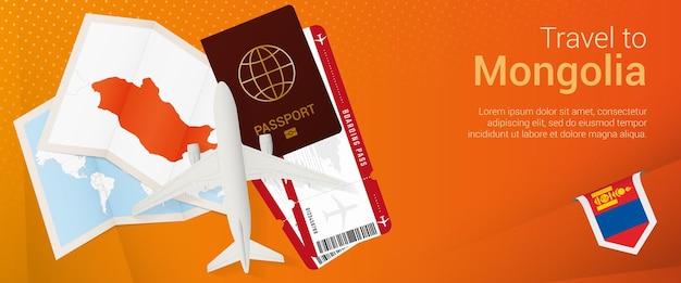 Pop-under-banner in die mongolei reisen. reisebanner mit reisepass, tickets, flugzeug, bordkarte, karte und flagge der mongolei.