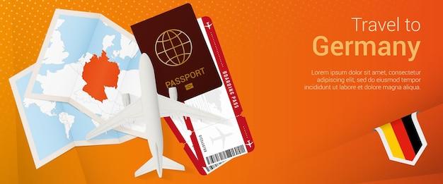 Pop-under-banner nach deutschland reisen. reisebanner mit pass, tickets, flugzeug, bordkarte, karte und flagge deutschlands.