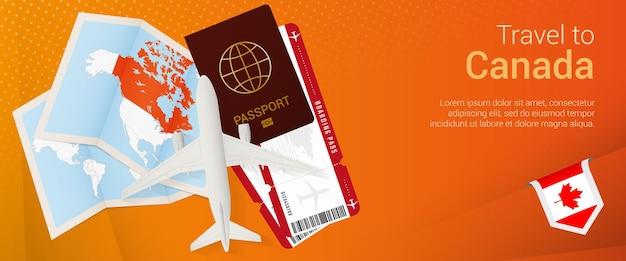 Pop-under-banner nach kanada reisen. reisebanner mit reisepass, tickets, flugzeug, bordkarte, karte und flagge kanadas.