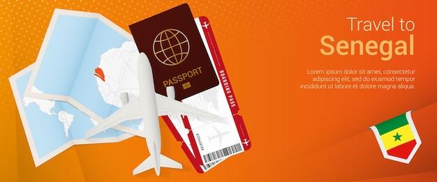 Pop-under-banner nach senegal reisen. reisebanner mit reisepass, tickets, flugzeug, bordkarte, karte und flagge senegals.
