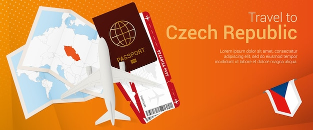 Pop-under-banner nach tschechien reisen. reisebanner mit pass, tickets, flugzeug, bordkarte, karte und flagge der tschechischen republik.
