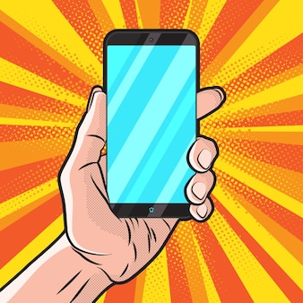 Popart style mit smartphone in der hand