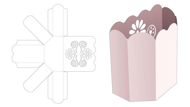 Popcorn-box mit gebogenem rand und schablone mit mandala-stanzung