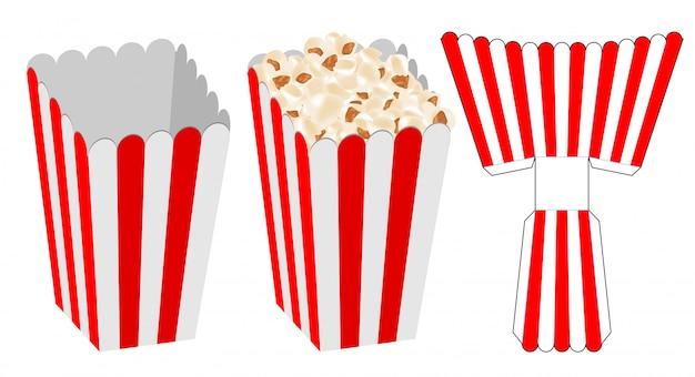 Popcorn box verpackung stanzvorlage design