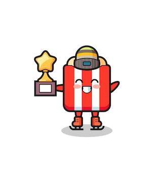 Popcorn-cartoon als eislaufspieler halten siegertrophäe, niedliches design für t-shirt, aufkleber, logo-element