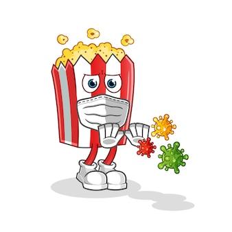 Popcorn cartoon maskottchen verweigern viren