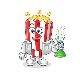 Popcorn cartoon maskottchen wissenschaftler