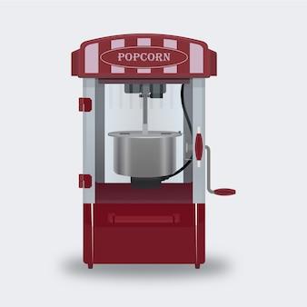 Popcorn, das maschinenmetall und realistischen vektor herstellt