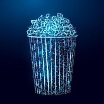 Popcorn-drahtmodell. plakatvorlage mit glühendem leckeren low-poly-snack.