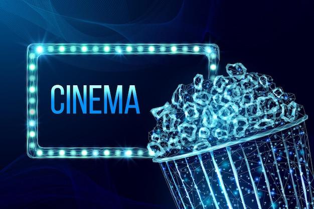 Popcorn-drahtmodell und lichtreklametafel. filmnachtplakatschablone mit glühendem, schmackhaftem low-poly-snack. vektor-illustration.