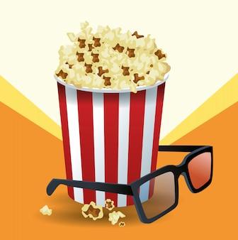 Popcorn-eimer und 3d-gläser über orange und weiß
