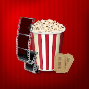 Popcorn, filmstreifen und tickets