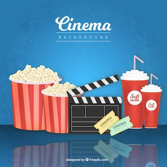 Popcorn hintergrund mit klöppel und andere film-elemente