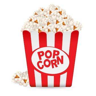 Popcorn in einer gestreiften wanne