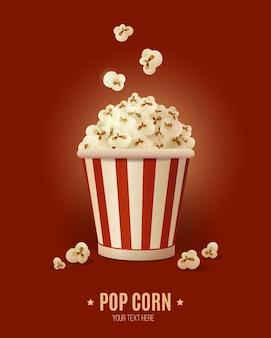 Popcorn in gestreifter schachtel, vektorillustration