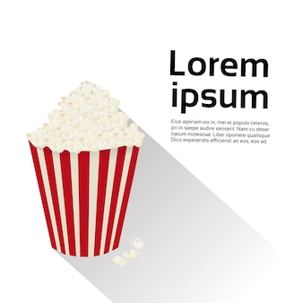Popcorn-kasten lokalisiertes lebensmittelkino-film-konzept. textvorlage