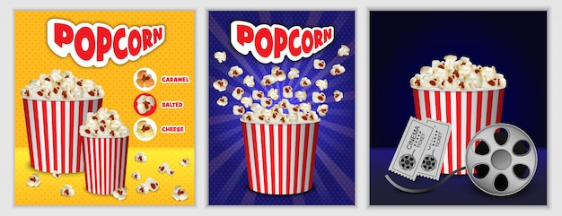 Popcorn-kinokasten-fahnensatz