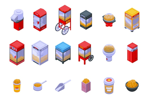 Popcorn-maschinen-symbole gesetzt. isometrischer satz von popcorn-maschinen-vektorsymbolen für das webdesign isoliert auf weißem hintergrund