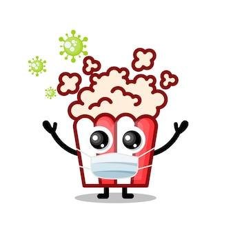Popcorn-masken-virus niedliches charakter-maskottchen