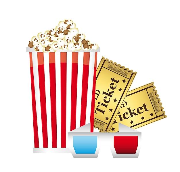 Popcorn mit gläsern 3d und karten über weißem hintergrundvektor