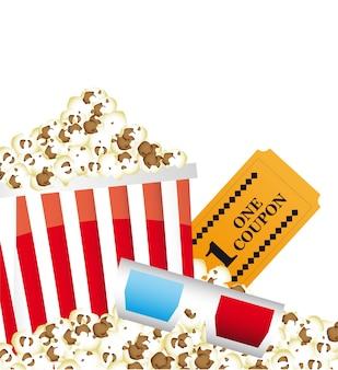 Popcorn mit gläsern 3d und kartenvektorillustration
