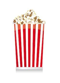 Popcorn mit schatten über weißer hintergrundvektorillustration