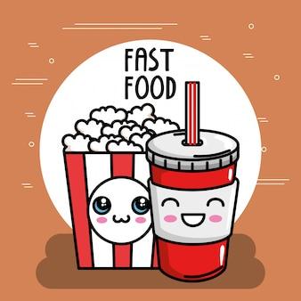 Popcorn mit soda kawaii charakter